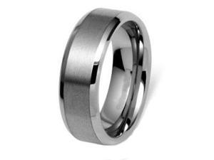 CleverEve Tungsten Carbide Ring Beveled Edge Brushed Center 8mm Wedding Band Size 8