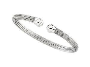 CleverSilver's 14K White Gold Hollow Bangle Bracelet-