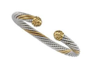 CleverSilver's Sterling Silver & 14K Yellow Gold Cable Bracelet-