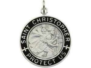 CleverSilver's Sterling Silver Black Enamel St. Christopher Medal With 24.00 Inch Chain 24.50 Mm