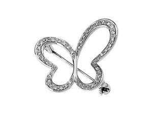 CleverSilver's 14K White Gold Diamond Brooch 1/ 4Cttw