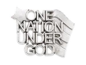 CleverSilver's 14K White Gold One Nation Under God Lapel Pin14. 0 0X9. 0 0 Mm