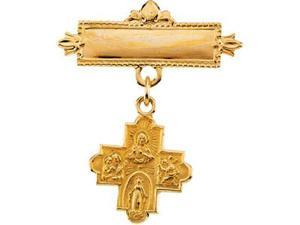 CleverSilver's 14K Yellow Gold 4-Way Cross Baptismal Pin2. 0 0 Mm
