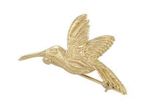 CleverSilver's 14K Yellow Gold Hummingbird Brooch 2 7. 0 0X 2 5. 0 0 Mm