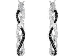 Genuine Black Spinel & Diamond Hoop Earrings