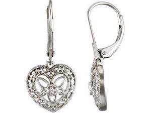 Diamond Leverback Heart Earrings