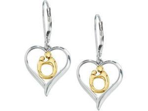 Heart Shaped Mother And Child Earrings Ster_10Ky Pair 16.75X14.70 mm