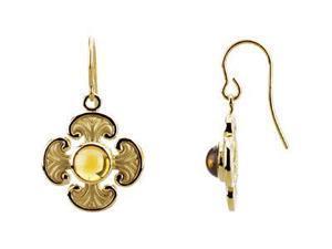 Genuine Citrine Maltese Cross Earring Pair 14K Yellow Pair