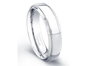 Tungsten Carbide Ring High Polish Finish Beveled Edges Comfort Fit Size 8