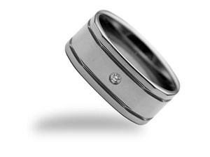 CleverEve Tungsten Nation 6mm Duo-Grooved Band Genuine .09 Ct. 2.8mm Center Tungsten Diamond Ring (10)