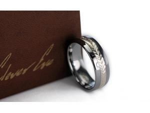 CleverEve Tungsten Nation 8mm Domed Band w/ 3mm Swiss-Cut Sterling Silver Inlay Tungsten Ring (10.5)