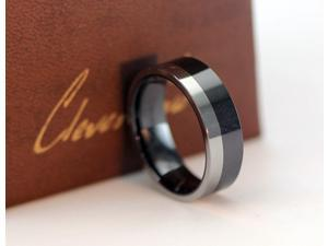CleverEve 2015 Tungsten Nation 8mm Mens Black Ceramic Tungsten Mixed Ring w/ 3mm Tungsten & 5mm Ceramic Fully Polished Tungsten Wedding Band (10)