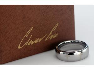 CleverEve Tungsten Nation 8mm Tungsten Domed Ring Laser Etched Cross Tungsten Band (9.5)