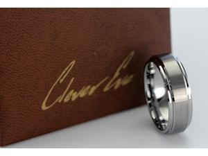 CleverEve Tungsten Nation 8mm Classic Two-Tone Brushed Center Raised Tungsten Ring (Sz 8 to 12)