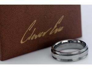 CleverEve 7 mm Tungsten Carbide Ring Stone Finish Polished Center High Polish Finish 10