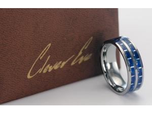 CleverEve Tungsten Nation 8mm Carbon Fiber Tungsten Ring w/ Double Stripes Blue Carbon Fiber Inlaid Tungsten Band (12)