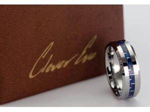 CleverEve Tungsten Nation 8.0mm Tungsten Carbon Fiber Ring w/ 3.0mm Blue Carbon Fiber Inlay (11)