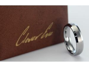 CleverEve Tungsten Carbide Ring Brushed and Polished Finish size 12