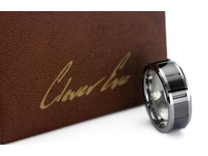 CleverEve Tungsten Nation 8mm Tungsten Ceramic Ring w/ 5mm Black Ceramic Inlay 10 Groove Tungsten Wedding Band (12.5)