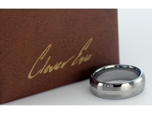 CleverEve Tungsten Nation 8.0mm Tungsten Ring Brushed Double Stripe & Polished Center (10)