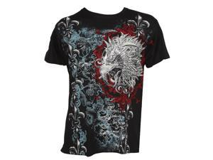 Konflic Men's Giant Tribal Eagle Graphic MMA Muscle Crew Neck T-shirt - Large
