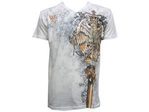 Konflic NWT Men's Eagle Guardian MMA Muscle V-Neck T-shirt, White, Medium