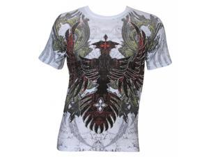 Konflic Men's Ruined Ancient Phoenix MMA Muscle T-Shirt - White - X-Large