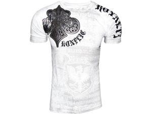 Konflic NWT Men's Saint's Royalty Graphic Designer MMA Muscle T-shirt White - X-Large