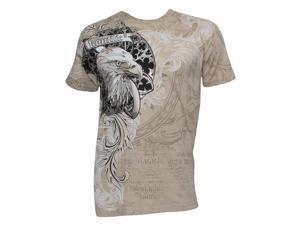 Konflic Men's Eagle Crest MMA Muscle T-Shirt - Khaki - Medium