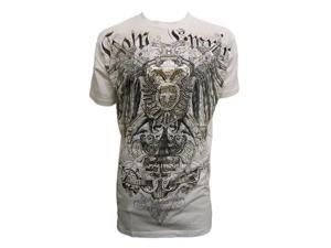 Stone Konflic Two-Headed Bird Dual Sword and Shield Muscle T-Shirt - White- X-Large