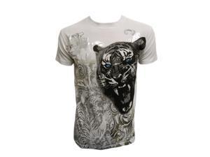 Stone Konflic Striking Blue-Eyed Tiger Musclt T-Shirt - White - Small