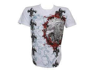 Konflic Men's Giant Tribal Eagle Graphic MMA Muscle Crew Neck T-shirt - Small