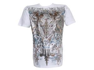 Stone Konflic Fidelity Pegasus Coat of Arms Muscle T-Shirt - White - Small
