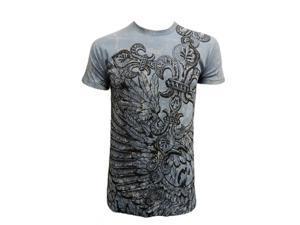 Konflic Men's Vintage Winged Spade T Shirt, Sky Small