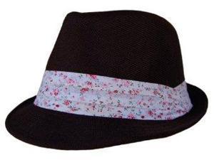 Boho Sheek Black with Flower Print Band Fedora Hat