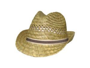DCI Mat Straw Woven Fedora - Natural, S/M