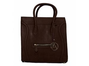 "Womens Designer ""Poitiers"" Tote Structured Shoulder Handbag - Brown"