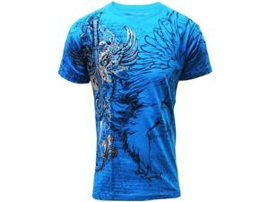 Konflic NWT Men's Cotton MMA Graphic Muscle T-Shirt - Turquoise - Large
