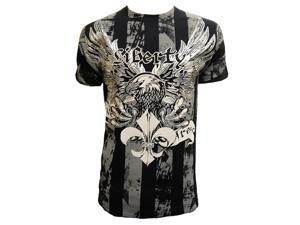 Konflic Mens Liberty Eagle Graphic MMA Muscle T-Shirt - Black - Medium
