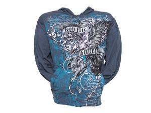 Konflic Eagle Clutching Crown Distressed Zip-Up Hoodie - Dark Grey - Large