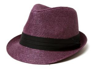 The Hatter Co. Tweed Classic Cuban Style Fedora Fashion Cap Hat, Purple
