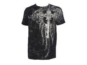 Konflic Mens Giant Tribal Cross MMA Muscle T-shirt - Black - X-Large