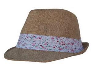 Boho Sheek Natural Khaki with Flower Print Band Fedora Hat