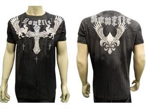 Konflic NWT Men's Griffin Cross Emblem Graphic MMA Muscle T-shirt, Black, L