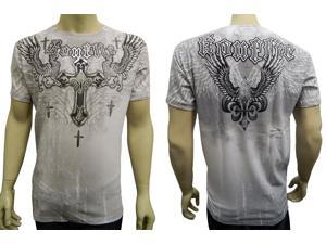 Konflic NWT Men's Griffin Cross Emblem Graphic MMA Muscle T-shirt, White, M