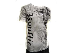 Konflic Cross Sword Crew Neck Cotton Men's Fashion T Shirt - White Small