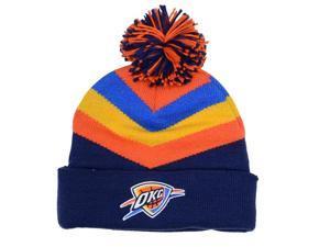 Oklahoma City Thunder Mitchell & Ness V Stripe Current Logo Knit Hat with Pom