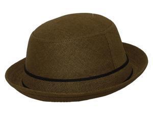 Bowler Straw Fedora Hat - Olive