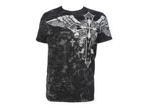 Konflic NWT Men's Cross with Wings Graphic MMA Muscle T-shirt, Black, M