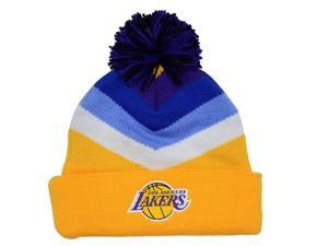 Los Angeles Lakers Mitchell & Ness V Stripe Vintage Logo Knit Hat with Pom